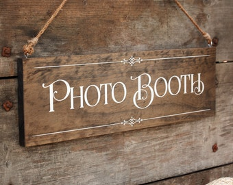 """Rustic Chic Wedding """"Photo Booth"""" Wood Photo Prop Sign for your Country, Western, Outdoor, Garden, Urban Wedding Reception or Home Decor"""