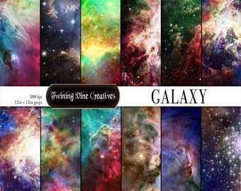 Galaxy Digital Paper, Commercial Use, Universe Scrapbook Paper, Stars, Nebula Paper, Cosmos Cosmic Paper, Rainbow Galaxy, Space, Galactic