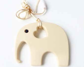 Large Beige Teething Elephant, Silicone Pendant, DIY Teething Necklace, Teething Toy Jewlery, Baby Chew Jewlery, ivory off-white tan