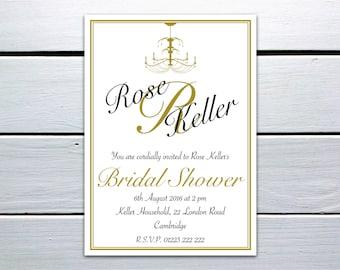 Printable Bridal Shower Invitation: Black and Gold Chandelier