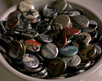 """Set of 4 - 1"""" inch Buttons - Handmade Pins Made from Vintage Vinyl Record Sleeves, etc"""
