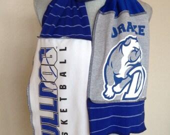 Drake Bulldogs Scarf, Bulldogs Tshirt Scarf, Bulldogs Scarf, BUL1, Drake Basketball Scarf