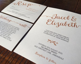 Classic simple customisable wedding invitation suite