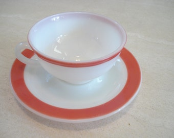 Pyrex Pink Flamingo Band Banded Cup and Saucer Set