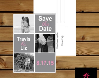 Save the Date Printable Post Card with Photos and Customization - 7x5