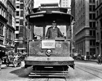 Vintage 1914 NEW YORK CITY Streetcar /Trolley 4th & Madison Avenue - Reprint Photograph size 8x10 11x14 16x20 Street Car Photo Picture Print