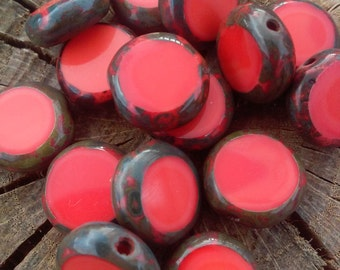 Round glass czech picasso beads, you get 10 beads in a set