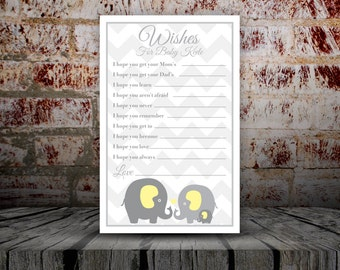 Wishes for Baby/Baby Shower/Yellow Elephant/Printable/Personalized