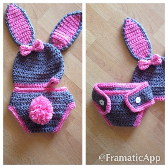 Crochet Baby Bunny Outfit Hat and Diaper Cover Bunny
