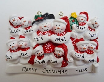 Personalized Snow Family of 12 - Personalized Free - Personalized Family of 12 Christmas Ornament
