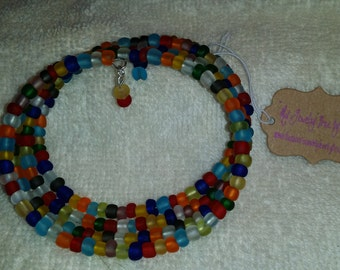 Multi Colored Glass Beaded Memory Wire Bracelet
