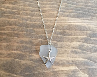 Clear Sea Glass Pendant Necklace with Starfish, Genuine North Carolina Sea Glass, Pendant Necklace, Beach Jewelry