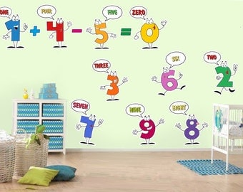 Sweet Kids Wall decal numbers for children room classroom decor, back to school sticker, one to ten numbers, 1-10 numbers 1310