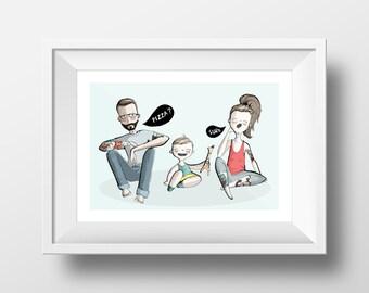 Custom Family Portrait. Family. Gift. Illustration.