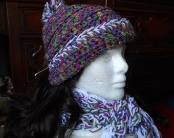 White Purple Green Blue Multicolored Crochet Scarf and Beanie Hat Set