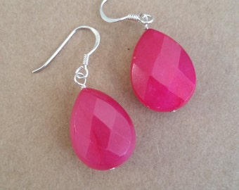 Fab Fuschia Teardrop Earrings