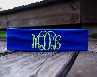 FREE SHIPPING, Monogrammed Headband Custom Embroidered Personalized Headband