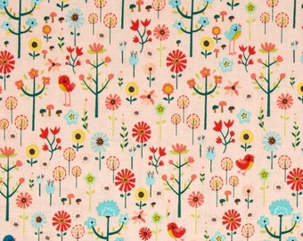 SALE 7.99 YARD - REG 9.95 Yard - Roots and Wings  Coral Garden designed by Deena Rutter for Riley Blake Designs - Wildflower Tula