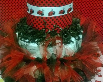 Red and Black Lady Bug Diaper Cake w/Tutu 1st Birthday and Birthday Girl