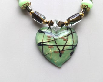 Glass Pendant Necklace, Furnace Beads, Earrings Matched Jewelry Set