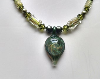 Swarovski Crystals, Hand-Blown Glass Pendant, Furnace Beads, Necklace, Matching Earrings Jewelry Set