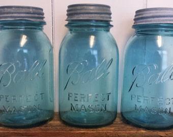 Vintage Perfect Mason Ball Jar, Blue Mason Jar, Original Ball Mason Jar, Vintage Mason Jar, Zinc Lids