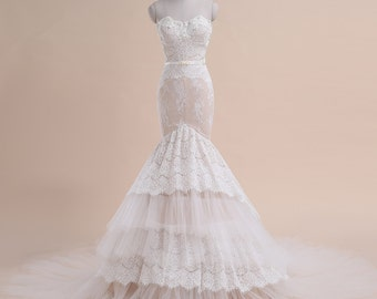 M7013 romantic sweetheart sleeveless backless off the shoulder mermaid lace summer style wedding dress