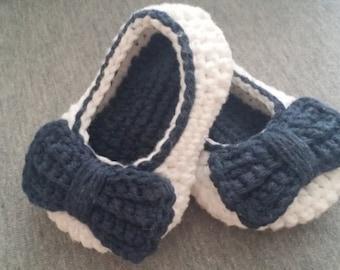 Handmade Navy Blue & White Baby Girl Slip On Shoe