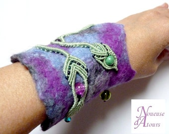 Cuff Bracelet, blue green and purple felted wool and micro-macrame