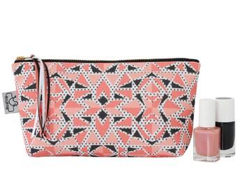 Geometric Make up bag/Coral cosmetic bag/Original ANJESY designs/Bridesmaid gift.