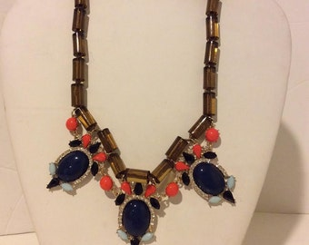 Brown and blue art deco chunky statement necklace