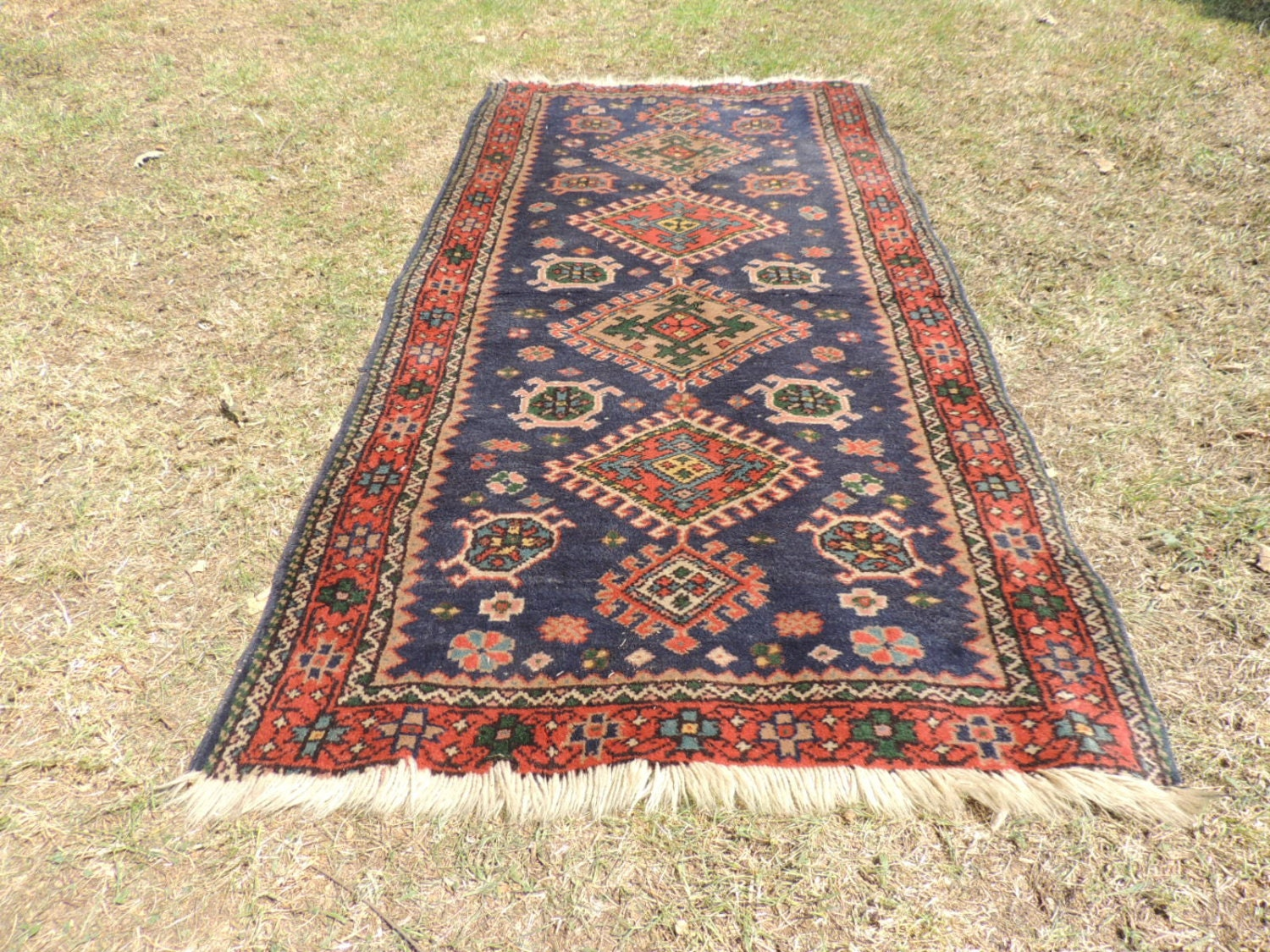 Vintage Boho Blueturkish Area Rug On Sale