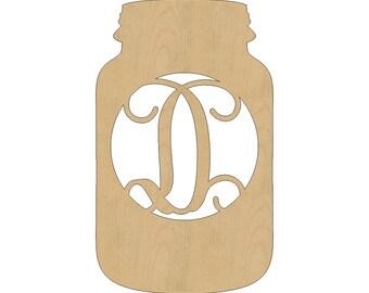 "26""-36"" Unfinished Single Letter Mason Jar Wood Monogram, Vine Script Initial Monogram, Door Hanger All Sizes 06.3"