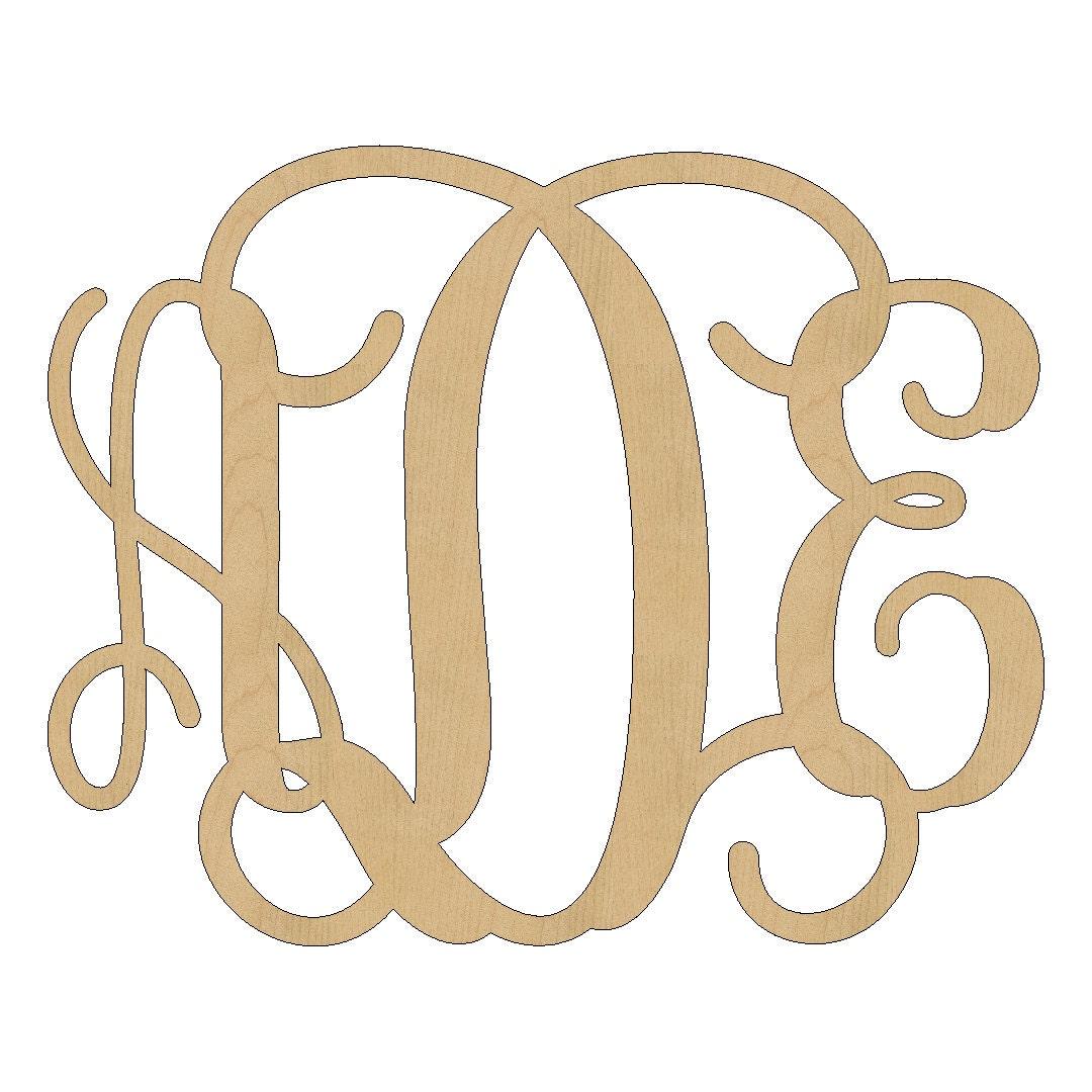 Large 3 Letter Wood Monogram 2228 Unfinished