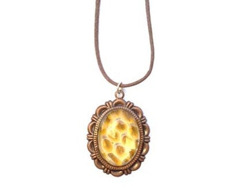 Real Snakeskin Necklace- Yellow Flower