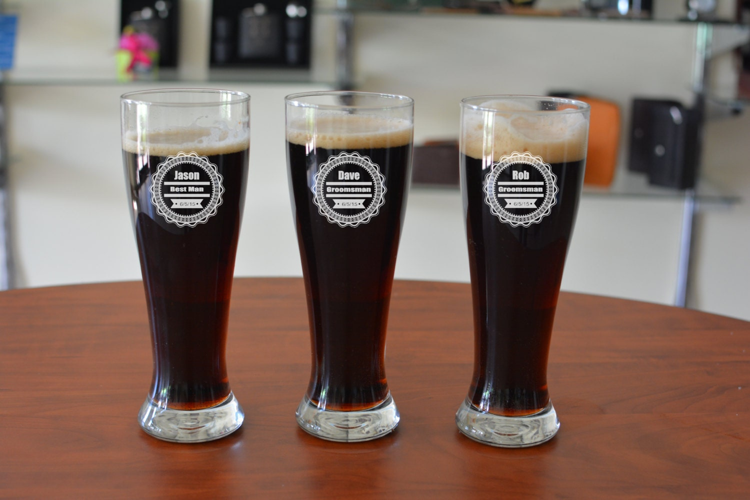 Customized Wedding Beer Glasses : Custom Beer Glasses Wedding Party Favors by SuncoastLaser