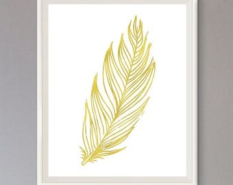 EXTRA 50% OFF Multiple Purchases Instant Download Printable Art Nursery Print Feather Gold Effect