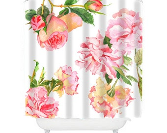 shabby chic shower curtain, rose shower curtain, floral shower curtain, cottage chic bathroom decor, rose decor, aqua, pink and white shower