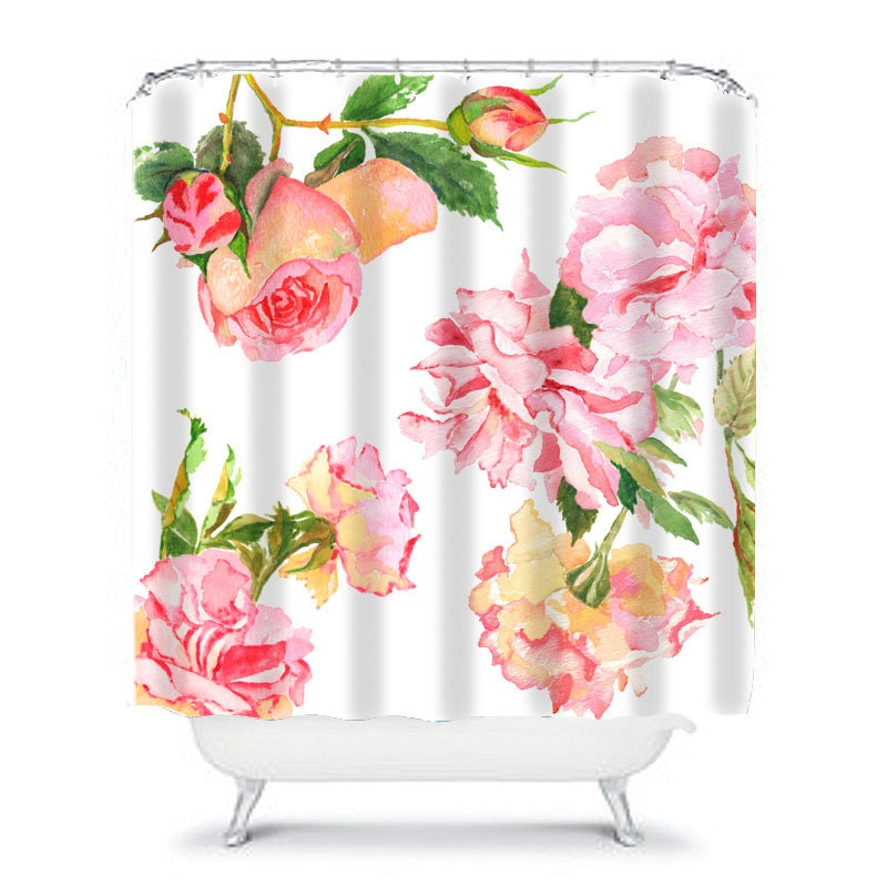 Shabby chic shower curtain rose shower curtain floral shower for Floral bathroom accessories