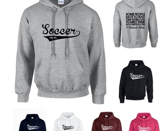 Soccer Mum Adults Hoodie Hooded Sweatshirt - Funny/Sport/Support/Superfan- Print on Front and Back