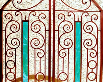 Wrought Iron & Stained Glass Mediterranean Courtyard Gate