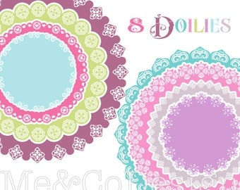 Doilies Clipart, Fun Cute Clipart, Scrapbooking Design Element Instant Download, Personal and Commercial Use Clipart, Digital Clip Art