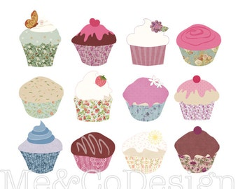 Old World Cupcakes Clipart, Clip art for scrapbooking, invitations, Instant Download, Personal and Commercial Use Clipart, Digital Clip Art