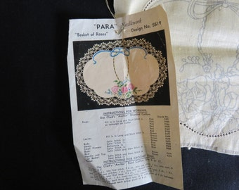 Vintage Stamped Traced Linen