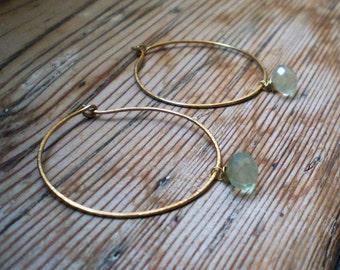 Natural prehnite earrings / prehnite earrings / hoop earrings / brass earrings