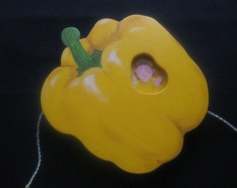 Hot peppers yellow, movable wooden screen, wall decoration vegetables, gift for garden lovers and cooks, adult toys