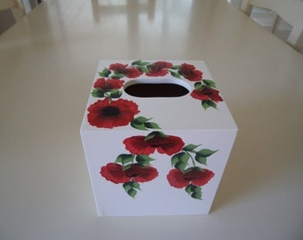 Hand Crafted and Hand Painted Red Poppy Mdf Cube Tissue Box Cover