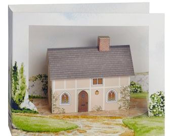 """Miniature house kit and greeting card """"Priory Cottage"""" Unique Gift. Model house, 3d"""