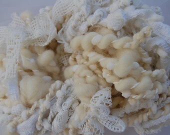 """ShabbyPinkDesk """"Country Bride"""" Blue Faced Leicester,  Bulky Art Yarn  Bubble Ply Art Yarn, White Lace ,  Kntting Supplies, Crochet, 27 yds"""