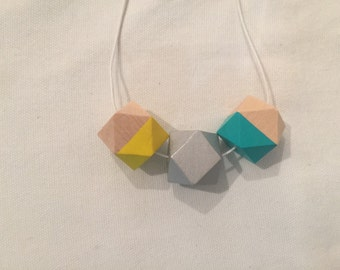 wooden bead necklace // silver aqua and yellow